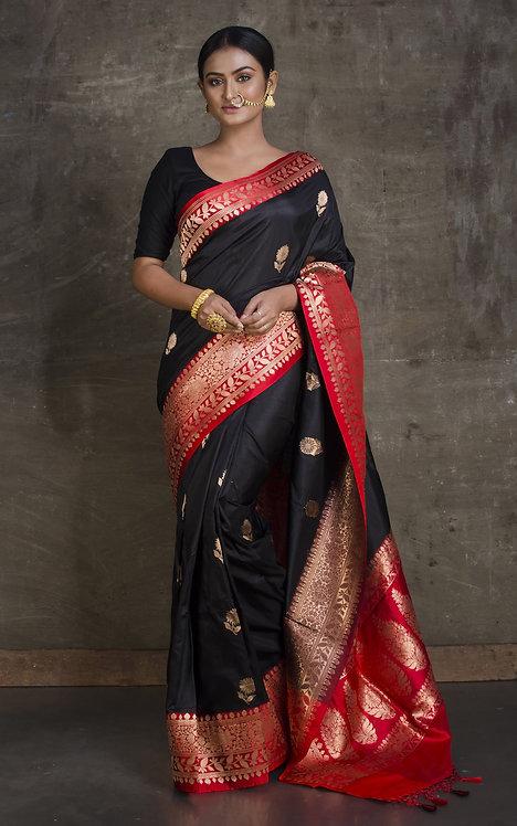 Pure Banarasi Katan Silk Saree in Black and Red