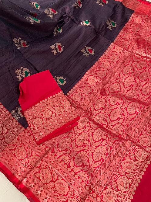 Pure Tussar Minakari Banarasi Saree in Dark Plum and Red