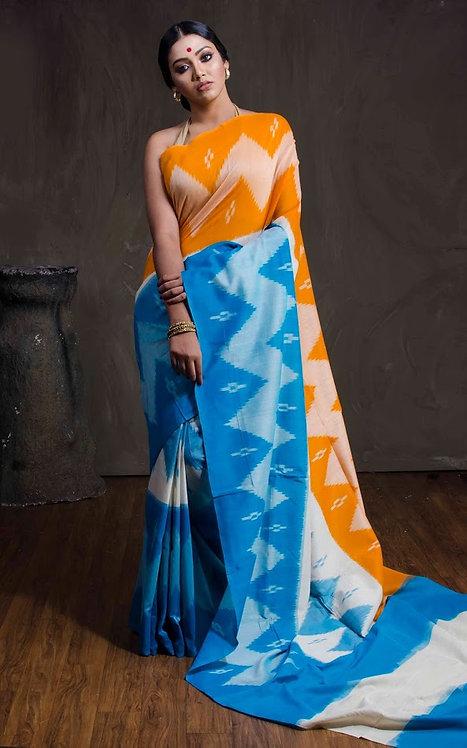 Mercerized Cotton Pochampally Saree in Blue, White and Yellow