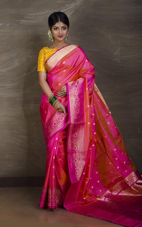 Pure Banarasi Katan Silk Saree in Peach, Pink and Gold