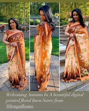 Bengal Looms Diva Susan in a Digital Printed Linen Saree