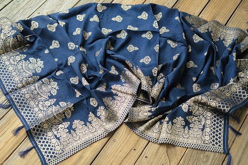 Banarasi Soft Silk Dupatta with Antique Zari in Blue
