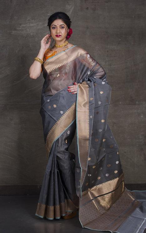 Pure Kora Banarasi Saree in Gray, SIlver and Gold