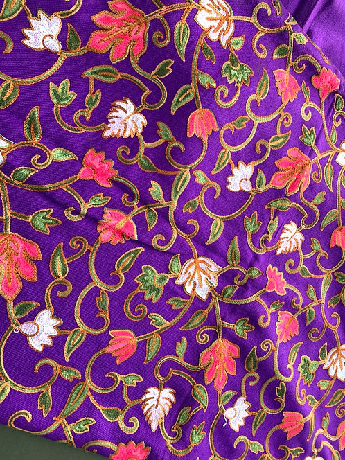 Full Body Work Pure Kashmiri Work Woolen Stole in Violet