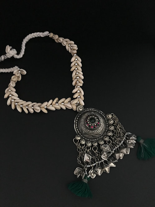 Afghan Shell Necklace with Big Pendant