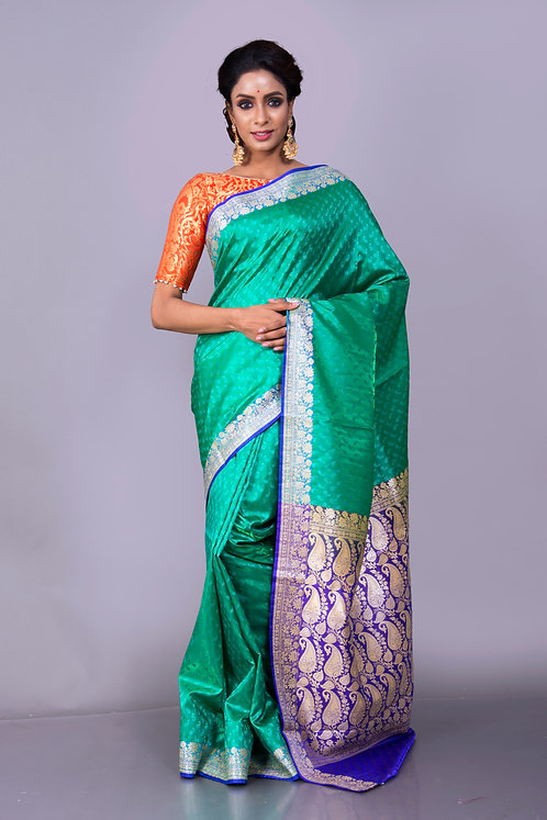 Art Silk Banarasi Saree in Green and Blue