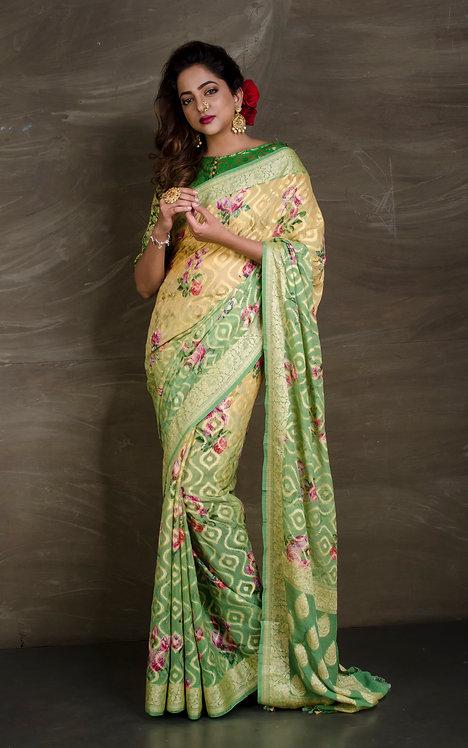 Pure Digital Printed Georgette Banarasi Saree in Green and Beige
