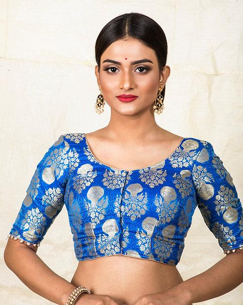 Royal Blue Banarasi Designer Blouse in Size 32