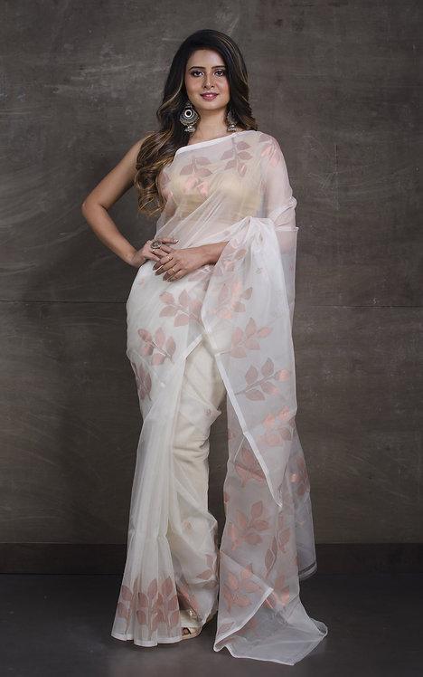 Muslin Jamdani Saree in Off White and Copperish Gold