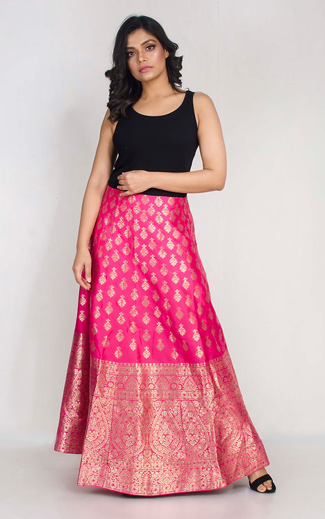 Banarasi Silk Flared Long Skirt in Hot Pink and Gold in Size Large