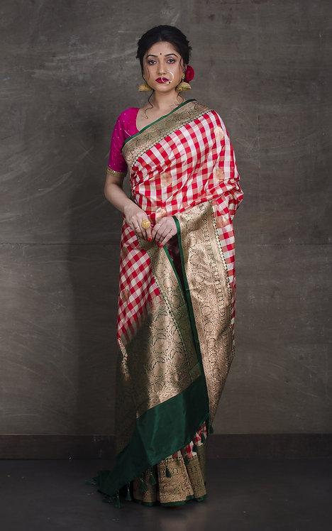 Pure Banarasi Checks Katan Silk Saree in White, Red and Dark Green