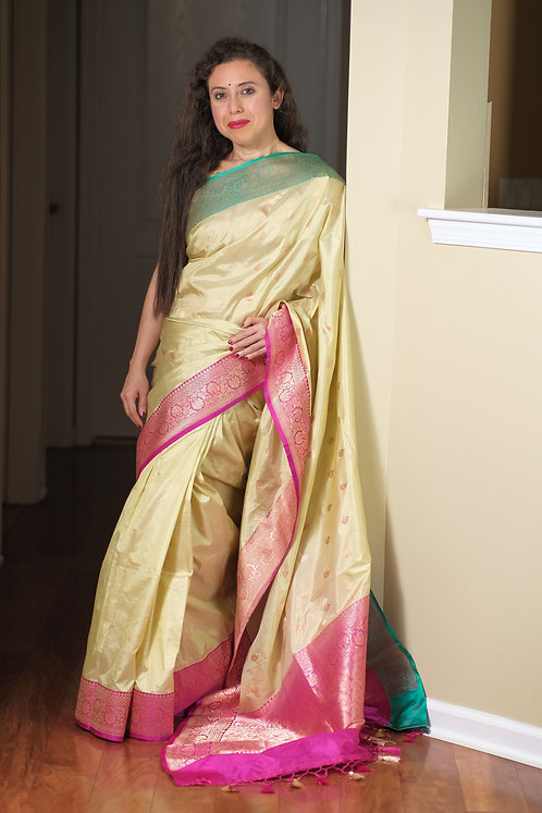 Banarasi Katan Silk Saree in Light Lemon Yellow