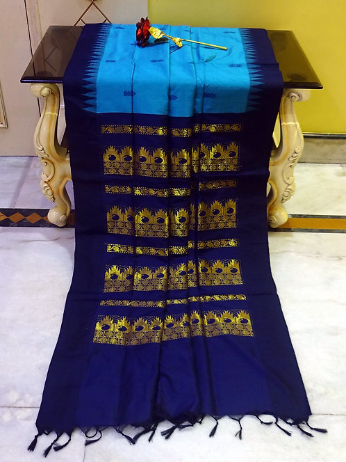 Soft South Cotton Gadwal Saree in Blue and Dark Blue