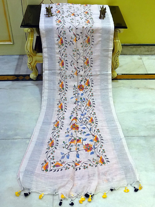 Printed Soft Woven Cotton Linen Saree in Frosted Pink and Silver