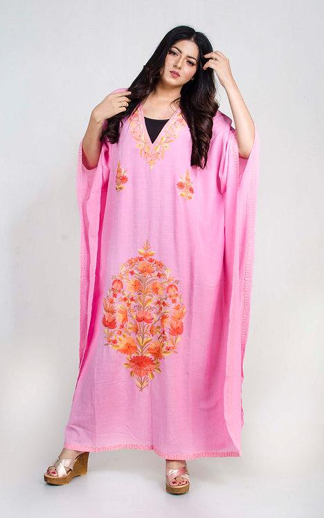 Pink Kashmiri Embroidery Work Kaftan in Free Size