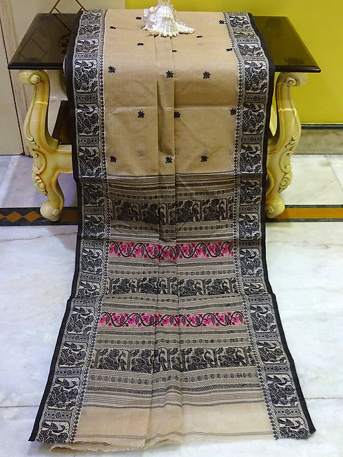 Bengal Handloom Cotton Baluchari Saree with Starch in Brown, Black and Pink