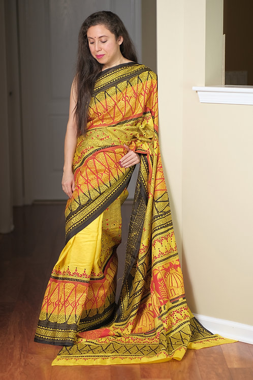 Hand Embroidered Kantha Stitched Pure Silk Saree in Yellow,Black and Red