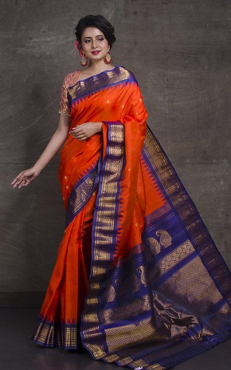 Gadwal Silk Saree in Orange and Navy Blue