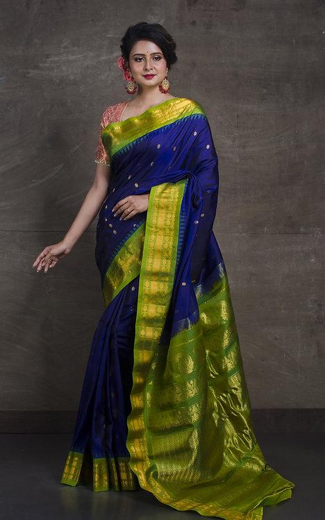 Gadwal Silk Saree in Royal Blue and Green