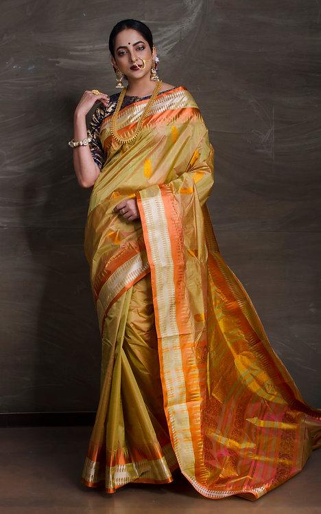 Pure Murshidabad Gorod Silk Saree in Olive Green and Orange