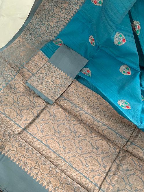 Minakari Work Pure Tussar Banarasi Saree in Pastel Blue and Gray