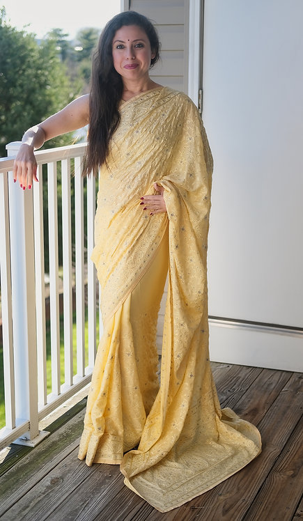Designer Party Wear Chikankari Embroidery Crepe Silk Saree in Light Yellow