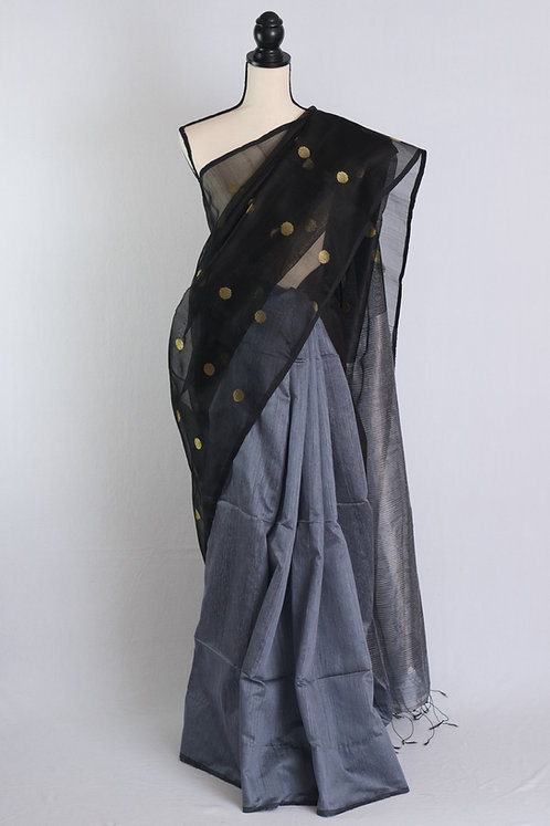Half Semi Muslin and  Half Cotton Silk Saree in Gray and Black