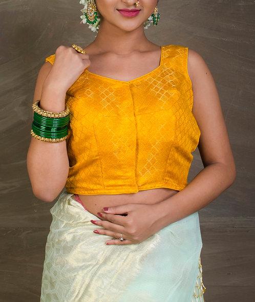 Yellow Banarasi Silk Sleeveless Blouse in Size 34