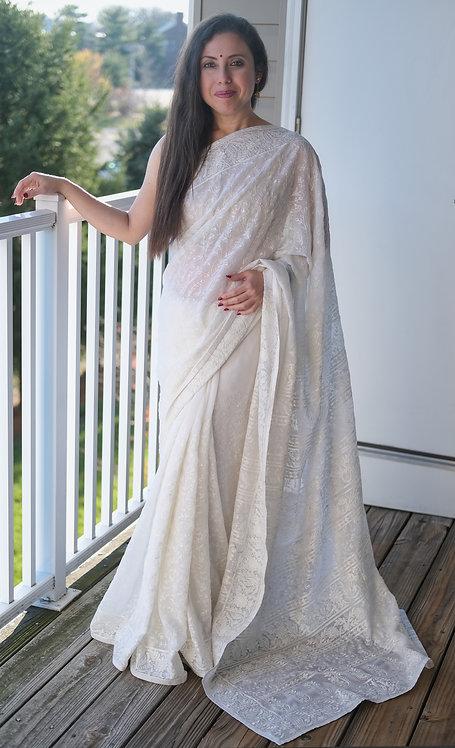 Designer Party Wear Chikankari Embroidery Chiffon Saree in White
