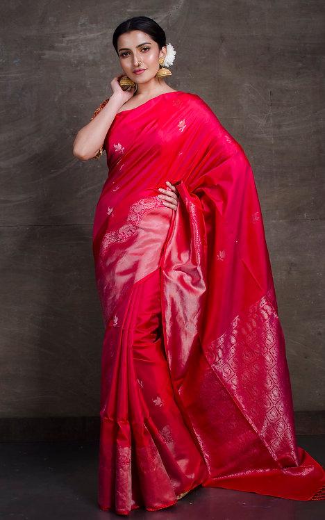 Soft Silk Kanchipuram Saree in Pinkish Red and Silver
