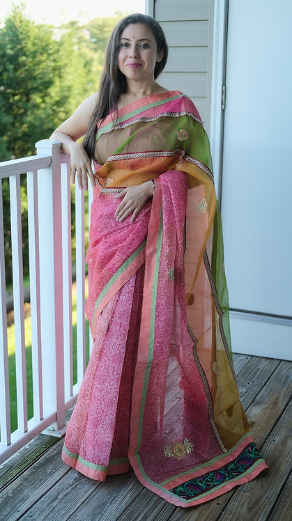 Super Net Embroidered Kota Saree in Pink, Orange and Green