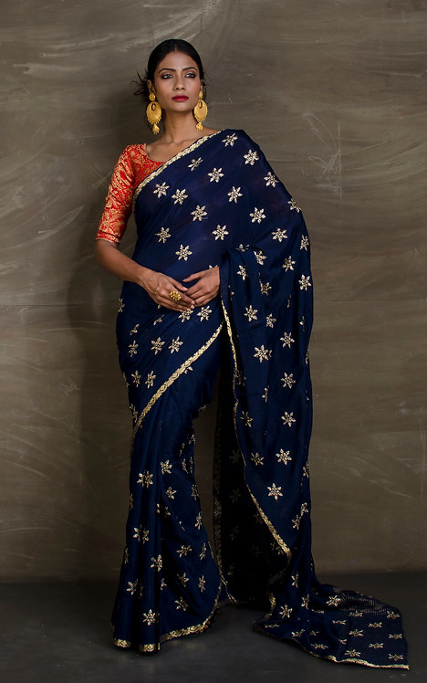 Crepe Silk Designer Saree with Embroidery in Dark Blue and Gold