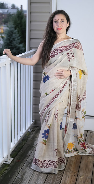 Block Printed Linen Cotton Saree in Beige and Maroon