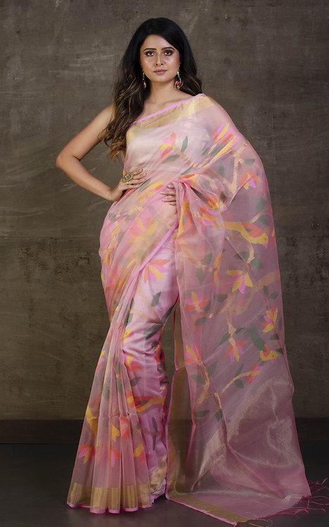Muslin Jamdani Saree in Frosted Pink, Gold Zari and Multicolored Thread Work