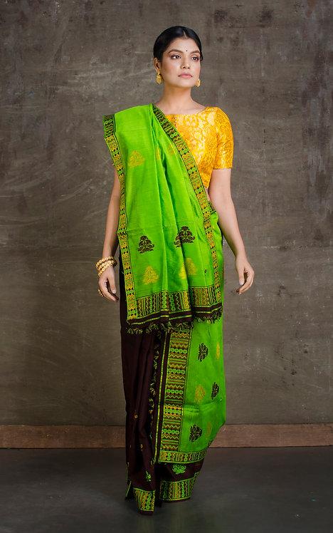Mekhela Chador in Green and Brown