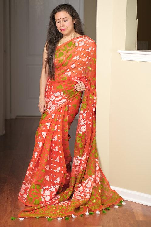 Soft Jamdani Saree in Orange, Green and White