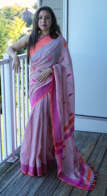 Linen Saree with Ganga Jamuna Border in Light Mauve, Orange and Purple