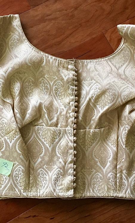 Cream and Copper Zari Silk Blouse in Size - 44