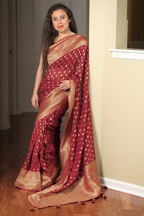 Pure Crepe Georgette Banarasi Saree in Dark Red and Gold