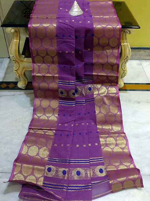 Bengal Handloom Cotton Saree with Starch in Purple, Blue and Gold