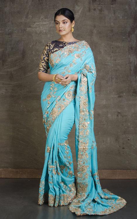 Dola Silk Embroidery Gota Patti Saree in Sky Blue and Gold