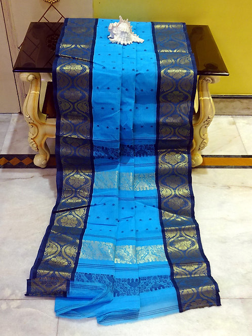 Bengal Handloom Cotton Saree with Starch in Blue, Dark Blue and Gold