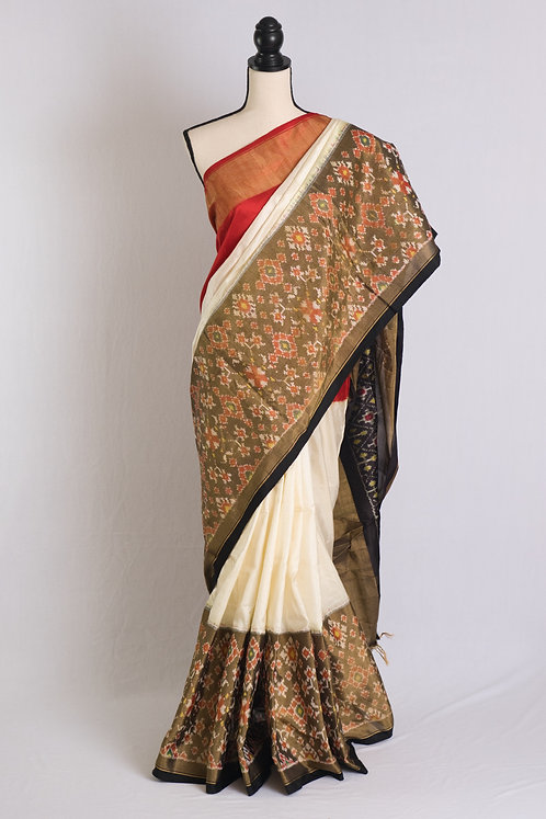 Pochampally Double Ikat Tissue Border Saree in Off White, Red and Black
