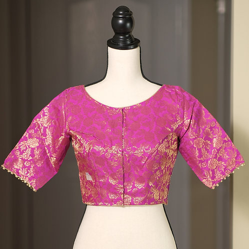 Hot Pink Boat Neck Designer Banarasi Blouse in Size 38