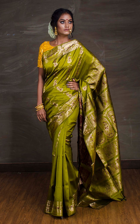 Pure Swarnachari Silk Saree in Moss Green and Gold
