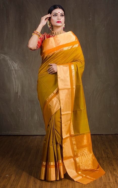 Cotton Silk Kanjivaram Saree Green and Orange