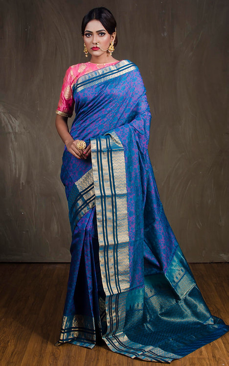 Kanjivaram Saree in Peacock Blue and Gold