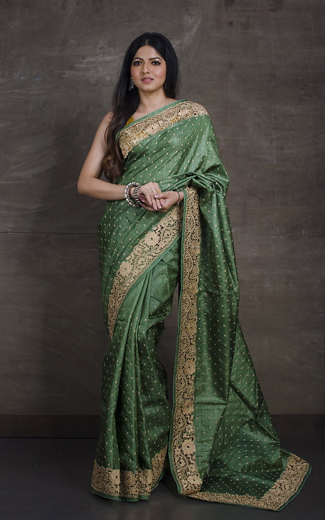 Premium Quality Tussar Embroidery Saree With Cut Work Border in Moss Green