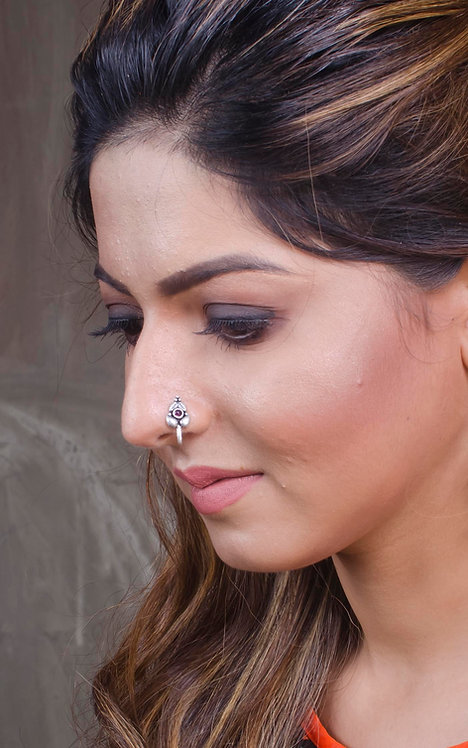 Pure Silver Stone Studded Nose Pin