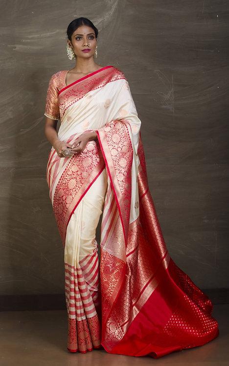 Pure Katan Banarasi Silk Saree in Off White and Red
